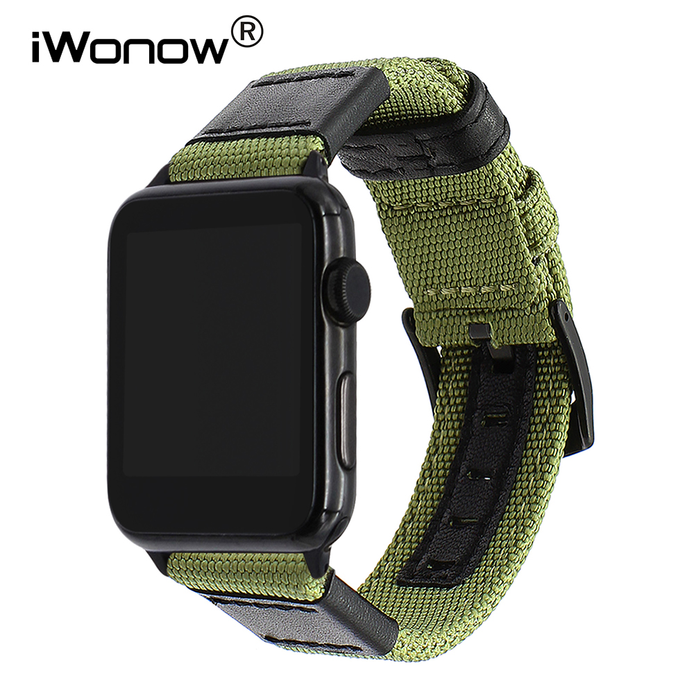 Canvas Nylon Watchband for iWatch Apple Watch 38mm 42mm 40mm 44mm Series 1 2 3 4 Leather Band 316L Steel Buckle Strap Wrist Belt leather for apple watch band 38mm 42mm butterfly buckle strap iwatch series 4 3 2 1 watchband replacement accessories wrist belt