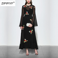 High quality 2018 women spring runway fashion embroidery full flare sleeve ankle length party dress sweet A line dress D9001