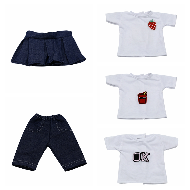 Doll Clothes and Accessories White t-shirt Pants Skirt Fit 43cm Zapf Baby Doll and 18 inch Dolls American Girl Doll 576 american girl doll clothes superman and spider man cosplay costume doll clothes for 18 inch dolls baby doll accessories d 3
