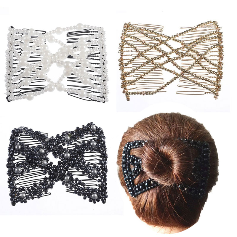 M MISM Retro Magic DIY Toll Pearl Hair Combs Double Magic Slide Metal Comb Clip Hairpins For Women Hair Accessories Hair Jewelry handbag