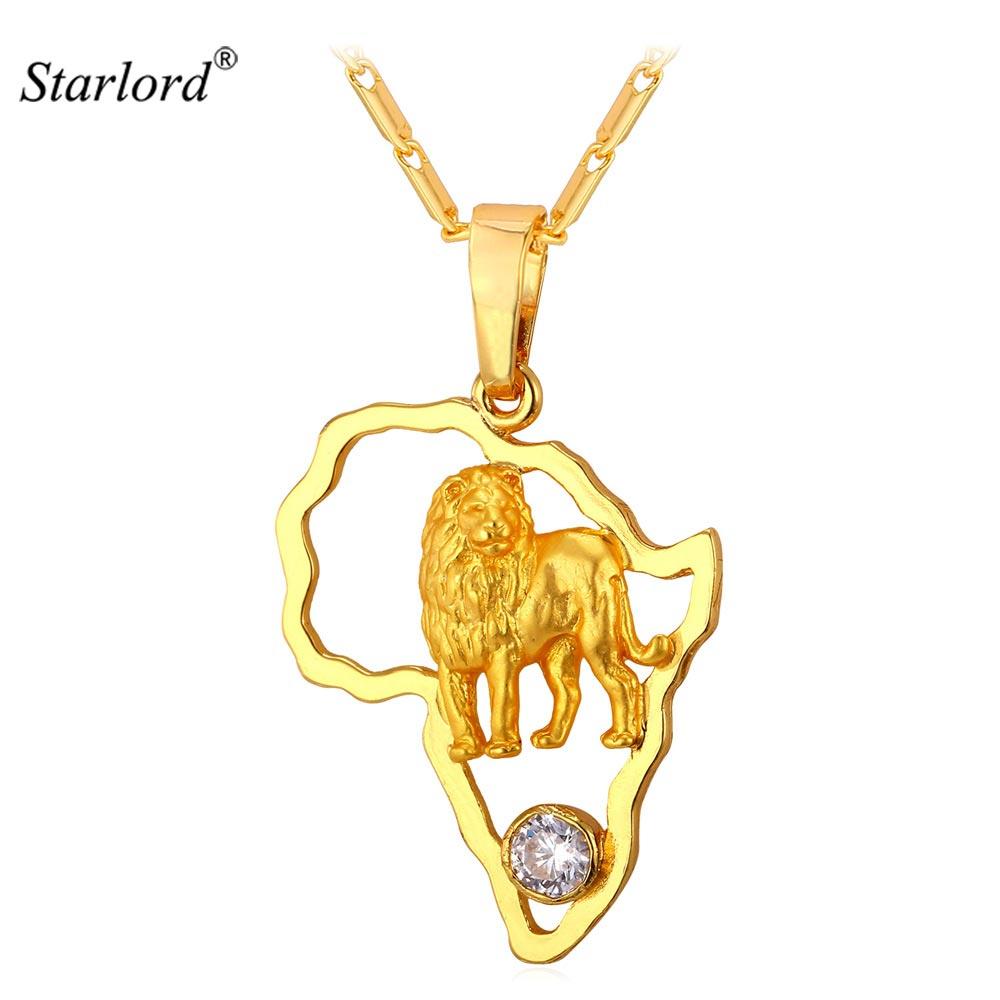 Starlord afrikanska smycken Hip Hop halsband Lion hänge & kedja guldfärg för män / kvinnor Vintage afrikansk karta P1946