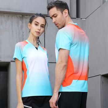 Z dekoltem w kształcie litery V projekt wysokiej jakości sportowe do biegania szybkie pranie oddychająca koszula Badminton kobiety mężczyźni tenis stołowy szkolenia Exericise koszulki z krótkim rękawem tanie i dobre opinie NoEnName_Null COTTON Poliester Anty-pilling Anti-shrink Przeciwzmarszczkowy Oddychające Szybkie suche Wiatroszczelna Plus size