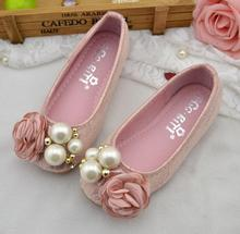 2017 Hot New 2017 kids shoes girls shoes beautiful flower pearl princess shoes girls soft sole casual single shoes girls
