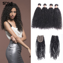 hot deal buy styleicon human hair curly bundles with closure malaysian afro kinky curly hair bundles 2 3 4 bundles with closure free shipping