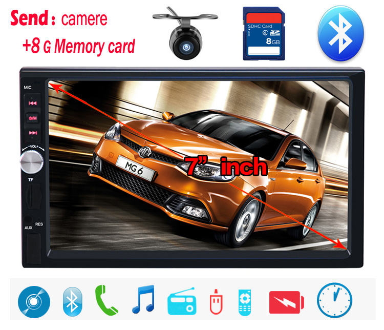 NEW 7 HD Touch Screen Car MP4 MP5 player BLUETOOTH hands free rear view camera automotivo