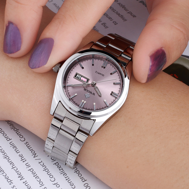 WWOOR Women's Luxury Date Silver Stainless Steel Ladies Quartz Watches 3
