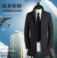 Stand Collar Long Sleeve Wool Coat Men Grey Slim Fit Business Mens Overcoat Grey Casaco Masculino