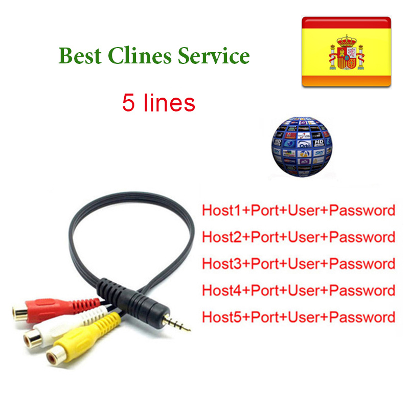 1 year 5 lines Cccam Clines Server For Europe Spain Portugal For Satellite Receiver  freesat V8 V7 DVB-S2 via USB wifi clines ...