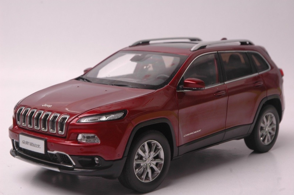 1:18 Diecast Model for Jeep Cherokee 2016 Red SUV Alloy Toy Car Collection Gifts 1 18 scale red jeep wrangler willys alloy diecast model car off road vehicle model toys for children gifts collections