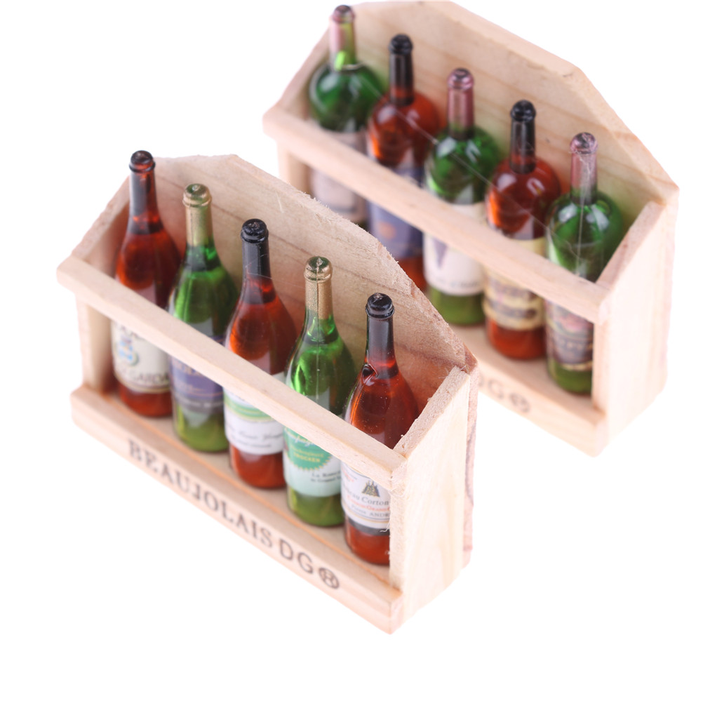 1:12 Miniature Food Wine Bottles In Wooden Case Drinks Dollhouse Kitchen Accessories