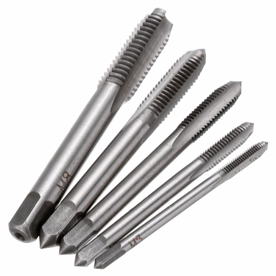 5pcs HSS Machine Hand Screw Thread Tapper M3 M4 M5 M6 M8 Metric Plug Tap Drill Set Cutting Drill Bits