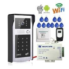 Envío Libre Wifi Inalámbrico Video de La Puerta de Intercomunicación Teléfono 720 P Metal Timbre Cámara RFID Código de Acceso Del Teclado para Android IOS teléfono