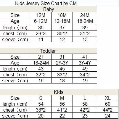 kid jersey size chart