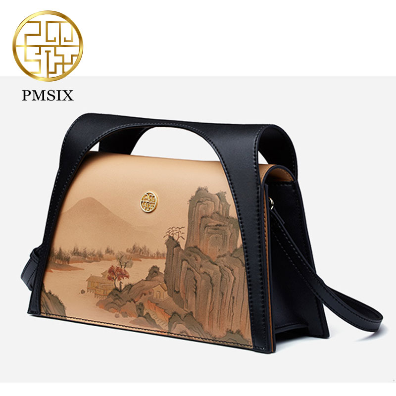 Pmsix bolso de lujo de mujer de paisaje pintado bolso de mujer de diseño Original de piel de vaca bolso de hombro Mini bolso de mano-in Cubos from Maletas y bolsas    3