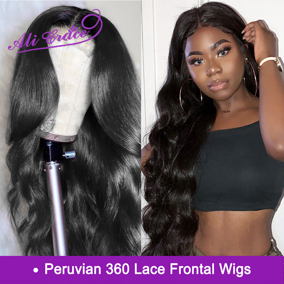 Ali Grace Peruvian Body Wave 360 Lace Frontal Wigs 250 Density Pre Lucked Human Hair Wigs