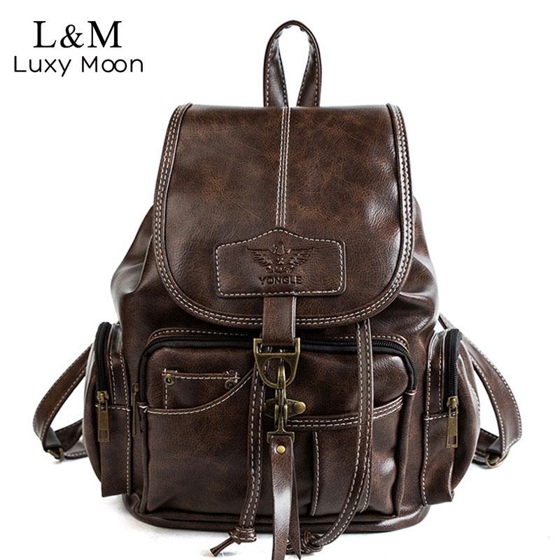 2019 Vintage Women Backpack For Teenage Girls School Bags Fashion Backpacks Retro Leather Black Drawstring Large BagPack XA150H