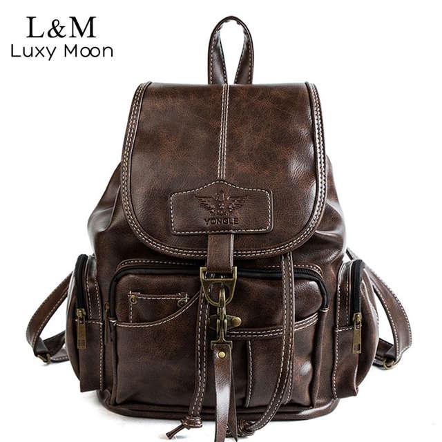 02076ce172 Online Shop 2019 Vintage Women Backpack For Teenage Girls School Bags  Fashion Backpacks Retro Leather Black Drawstring Large BagPack XA150H