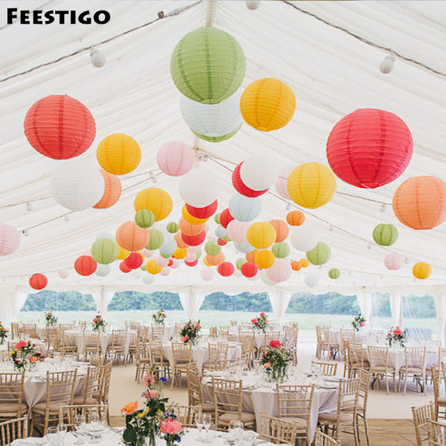 12pcs 6 16inch Decorative Paper Lanterns For Wedding Party Decoration Chinese Sky Birthday Baby Shower Home Decor