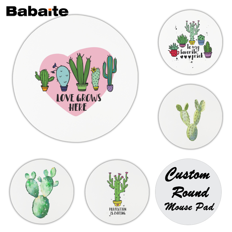 Babaite New Designs Nordic Cactus Simple Whie Comfort Mouse Mat Gaming Mousepad Size for 20x20cm and 22x22cm Round Mousepad