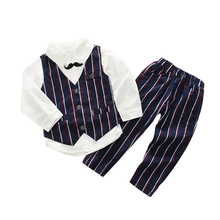 New Spring Autumn Baby Boys Gentleman Beard tie Fashion Temperament Suit Vest + Shirt + Pants stripe Three-piece Suit