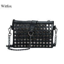 High quality genuine leather women bag metal rivet shoulder messenger bag with metal chain ladies clutches brand designer bag(China)