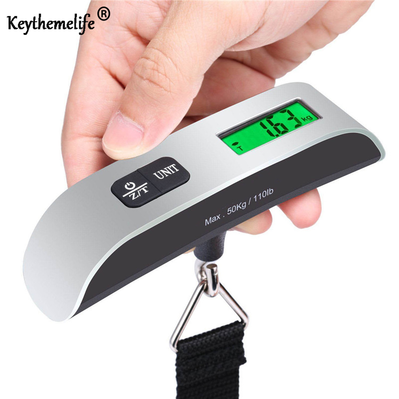 Keythemelife Portable Mini LCD Luggage Electronic Scale Thermometer 50kg Capacity Hanging Digital Weighing Hook Scale Device 2B5