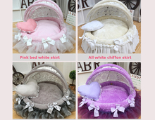 Awning pet cradle bed High-end fashion dog Exquisite doghouse Lace nest Luxury round Canopy foldable