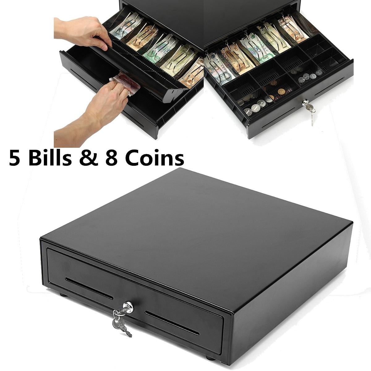 VK-4102 High Quality Cash Drawer Box Cash Register Compatible POS Printers Heavy Duty Key Lock 5 Bill 8 Coin Trays
