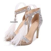 Clamorous Feather Crystal High Heel Sandals Fancy Glittering Crystal Ankle Wrap Stiletto Heel Dress Sandals Wedding