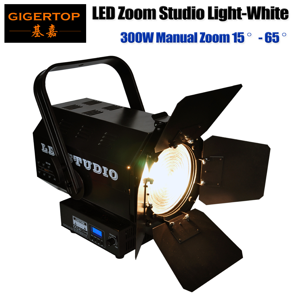 Freeshipping White Color 300W Led Manual Zoom Studio Movie Stage Light Fresnel Lens Smooth No Flicker Dimmer Roller