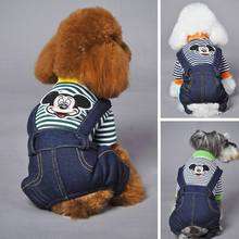 Free shipping New Fashion autumn and winter Style Pet Dog Jumpsuit Cute Mickey Overalls for Dog striped Romper Clothes