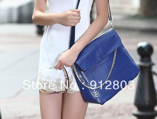 2013 Women's Fashion Quality all-match GENUINE LEATHER Knitted Handbag, Lady Chain Portable Cowhide Cross-body Messenger Bag