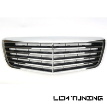For Mercedes Benz E-class W211 07 08 09 with Emblem ASSY Style Black/Silver Front Bumper Racing Grille