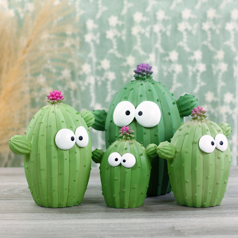 Cactus Shape Bank Resin Crafts Funny Plant Kids Coin Money Saving Box Home Office Decor Ornament Birthday Christmas Gift