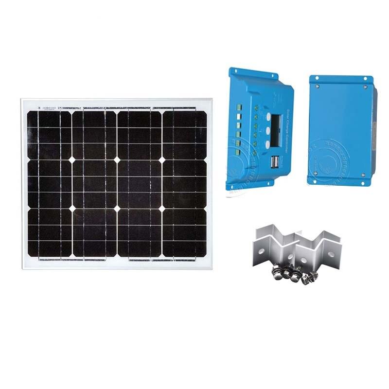 Solar Kit Portable Solar Panel 12v 30W Solar Charger Controller 12V/24V 10A PWM Z Bracket PV Cable Mini Solar Power System