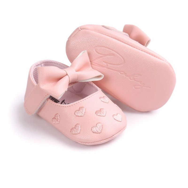 001afa08de5b Dropshipping Newborn Baby Girls Love Big Bow Embroidery Soft Bottom Non  slip First Walke Prewalker Boots Bottom PU Leather Shoes-in First Walkers  from ...