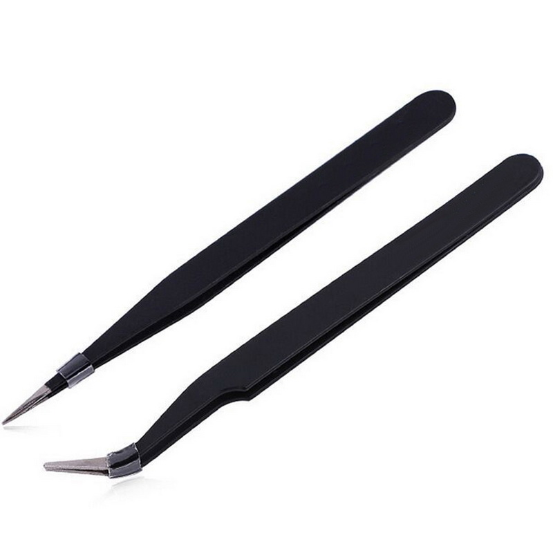 Черный 2 шт Набор ногтей с наконечниками из нержавеющей стали+ прямой конец пинцеты для ногтей 14 см 12,5 см антистатические немагнитные инструменты ESD