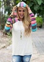 Jesień Nowy 2017 Gorąca Sprzedaż Przyczynowych Luźne Koszulki Z Długim Rękawem Rainbow Print Koszulki Dla Kobiety Odzież Moda Szczupła Z Kapturem Tee Top