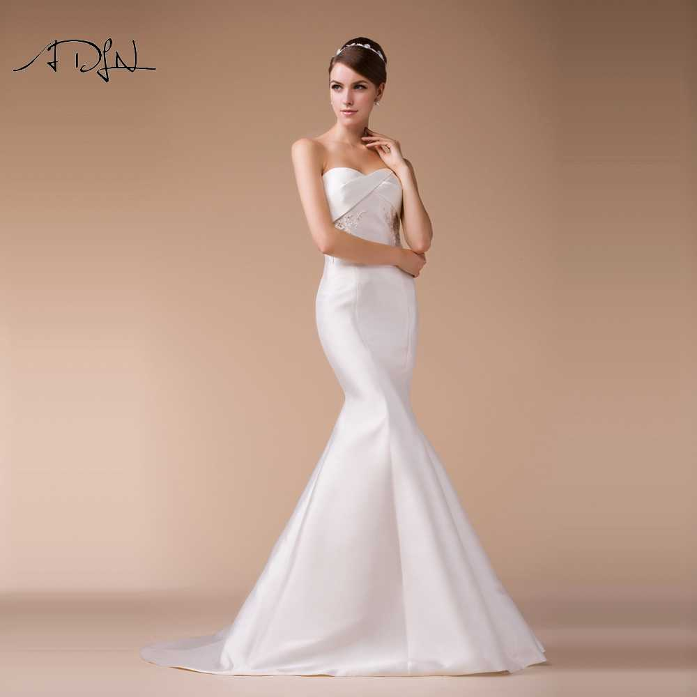 ADLN 2019 New Mermaid Wedding Dresses Delicate Beaded Satin Bridal Gown  Simple White/Ivory Plus Size Robe de Soiree