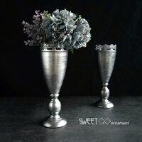 European Vintage silver home decor vases Dried flower vase suit Flower arranging metal vessel flower vases for weddings HP067