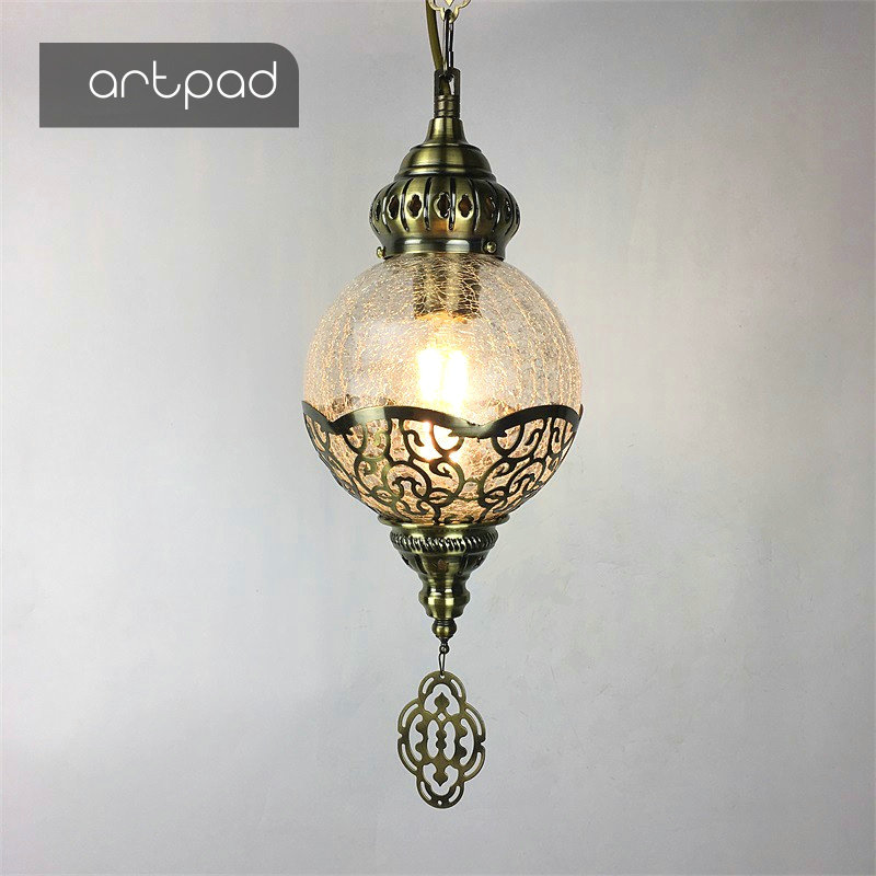 Artpad Vintage Retro Pendant Light Coffee Shop Restaurant Creative Pendant Lights Cracked-Glass Industrial Hanging Light northern europe glass cage pendant light loft vintage birdcage pendant lights lamp metal glass hanging lamps for coffee shop bar