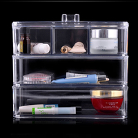 Crystal Acrylic Cosmetic Box Organizer Makeup Jewelry Storage Lipstick Make Up Brush Holder Display Box Acrylic