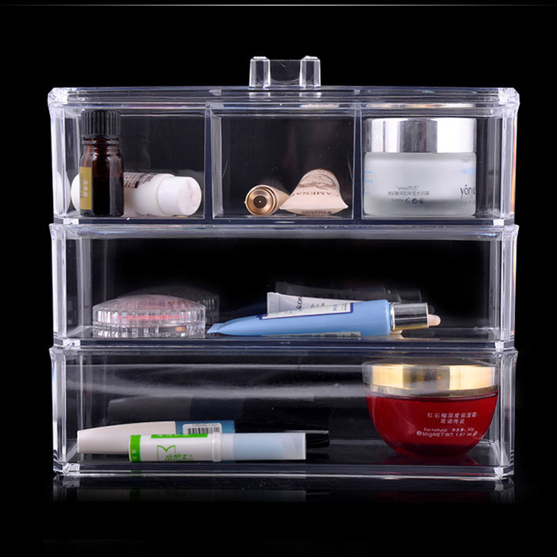crystal acrylic cosmetic box organizer makeup jewelry. Black Bedroom Furniture Sets. Home Design Ideas