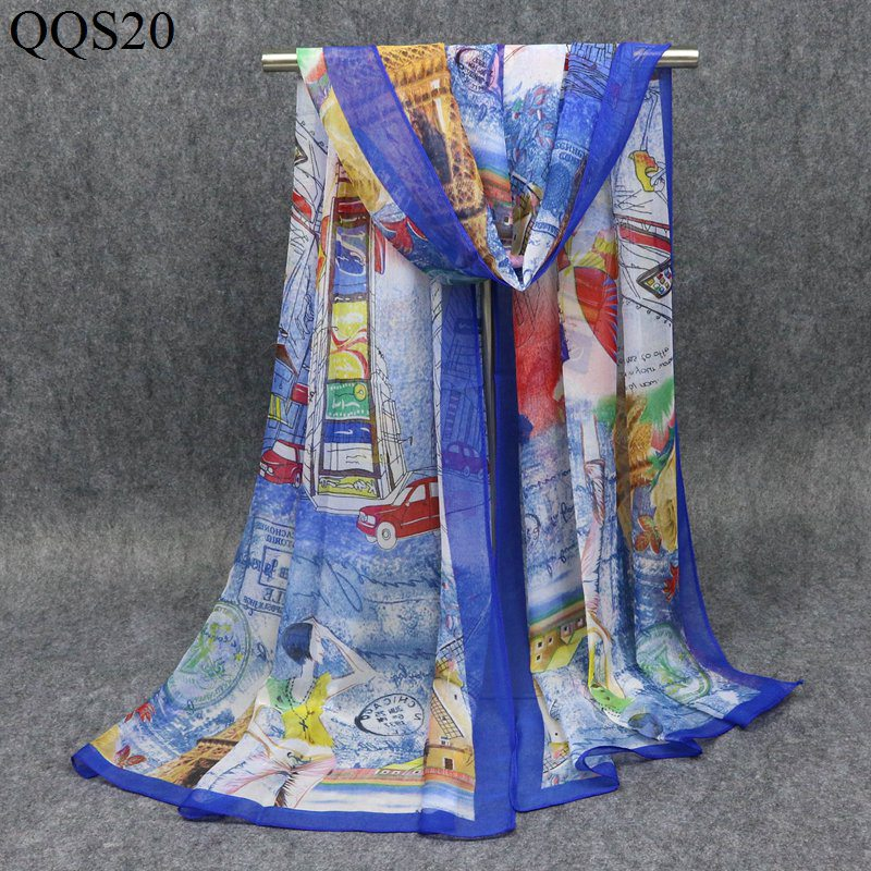 F&U Polyester Long City View Print Soft   Scarf     Wrap   Luxury Shawl Special Craft Chiffon Touch Feeling Fashion & Warm For Woman