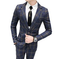 2019 New Boutique Plaid Fashion Men's Casual Business Suit / Groom Wedding Dress Men's Plaid Suit 2 Piece Set ( Jacket + Pants )