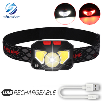 Super bright LED Headlamp Built-in inductive sensor rechargeable LED headlight with USB charging cable For running, fishing, etc rechargeable led headlamp sensor switch headlight waterproof super bright 4 lighting modes fishing headlamp with usb cable
