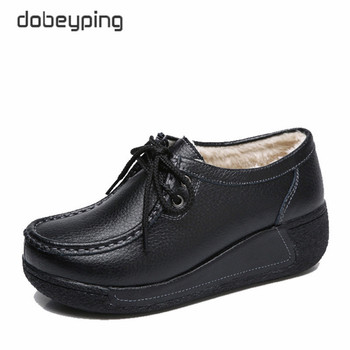 dobeyping New Genuine Leather Woman Winter Shoes Casual Flat Platform Women Shoe Plush Women's Loafers Slip-On Female Sneakers dobeyping genuine leather woman flats new winter plush boat shoe women keep warm female loafers moccasins mother cotton shoes