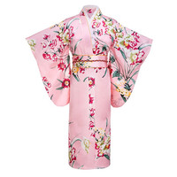 Pink Japanese Women Fashion Tradition Yukata Silk Rayon Kimono With Obi Flower Vintage Cosplay Costume Evening Dress One size
