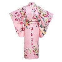 Pink Japanese Women Fashion Tradition Yukata Silk Rayon Kimono With Obi Flower Vintage Cosplay Costume Evening