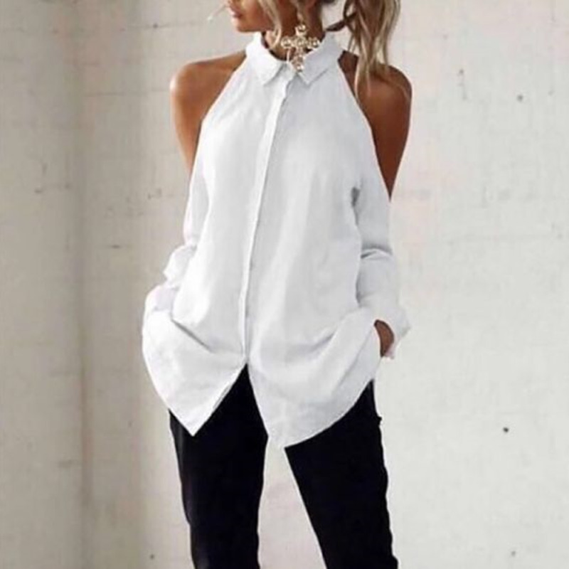 Women Long Sleeve Autumn Blouse Pure Color Turn Down Collar Button Shirt Tops Cold Off Shoulder Work Office Blouse Elegant Shirt